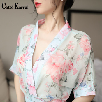 Catei Karrui sexy women nightgown home bathrobe temptation fashion printed chiffon nightgown kimono suit cardigan strap female drop shoulder printed kimono