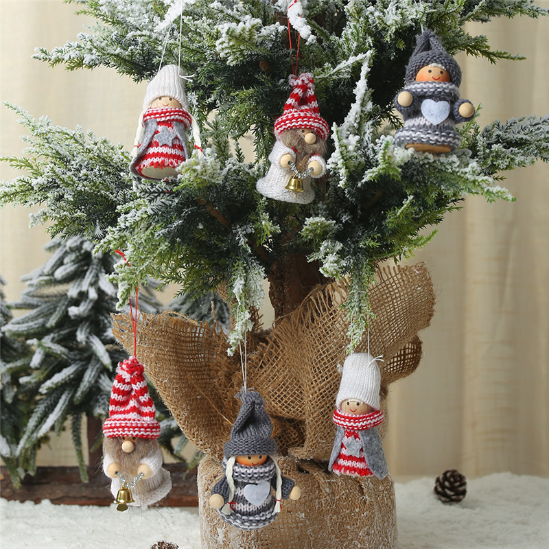 Xmas Christmas decorations Knit puppet pendant christmas tree ornaments Old man doll decoration doll charm all for the new year in Pendant Drop Ornaments from Home Garden