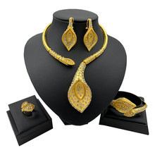 New African Jewelry Sets for Women Y Necklace Bangle Earrings Ring Luxurious Dubai Gold Jewellery Set(China)