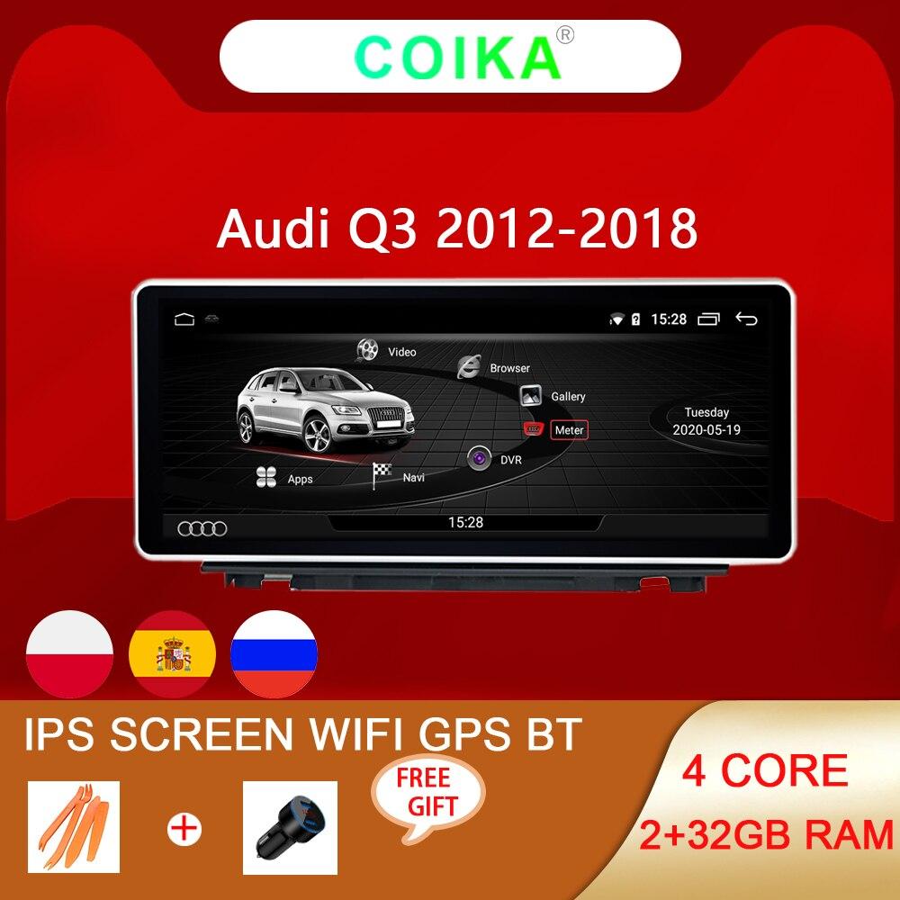 Автомобильный мультимедийный плеер на Android 10 для Audi Q3 2013-2018, 2 + 32 ГБ ОЗУ, Wi-Fi, BT, AUX, IPS, сенсорный экран, Google, GPS, навигация, стерео