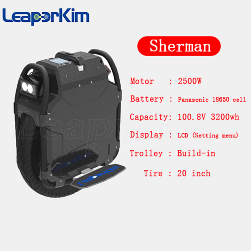 Veteran Sherman 20 inch off-road electric unicycle 3200wh battery 2500W motor LCD  display  new brand Leaperkim EUC