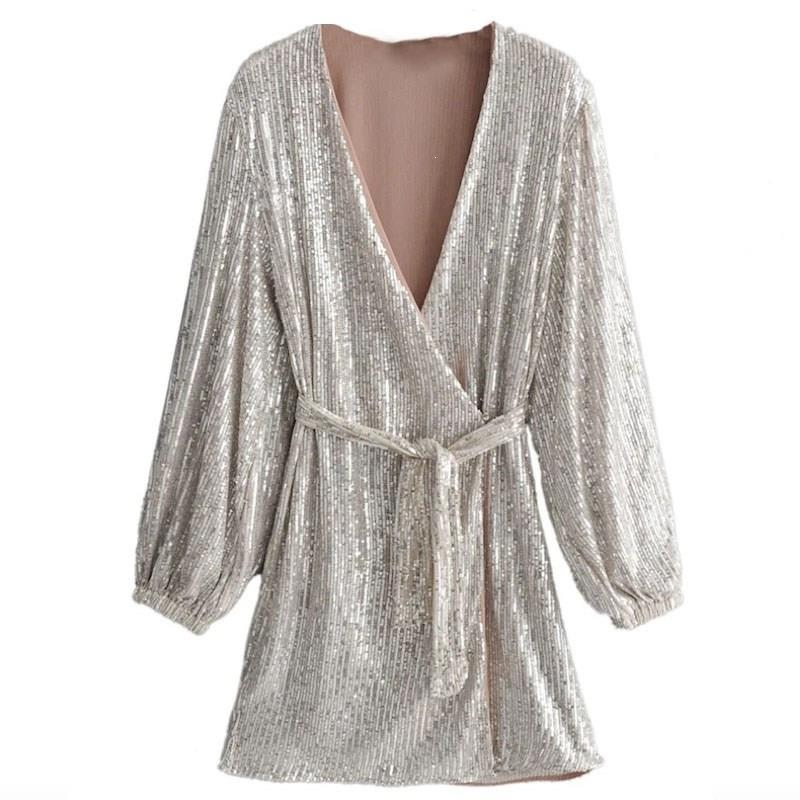 <font><b>Women</b></font> Sequin <font><b>Sexy</b></font> Club <font><b>Dress</b></font> Autumn V Neck A Line <font><b>Party</b></font> Mini <font><b>Dress</b></font> image