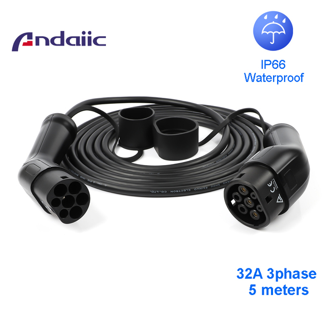 32a three phase ev cable type 2 to type 2 for electric car 62196 5M EVSE kit electric car charging station
