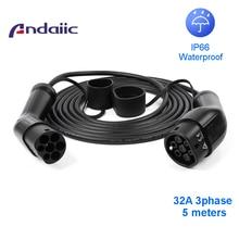 elektro auto ladekabel cee16 auf typ2 32a drei phase ev kabel typ 2 zu typ 2 für elektrische auto 62196 5M EVSE kit elektrische auto ladestation