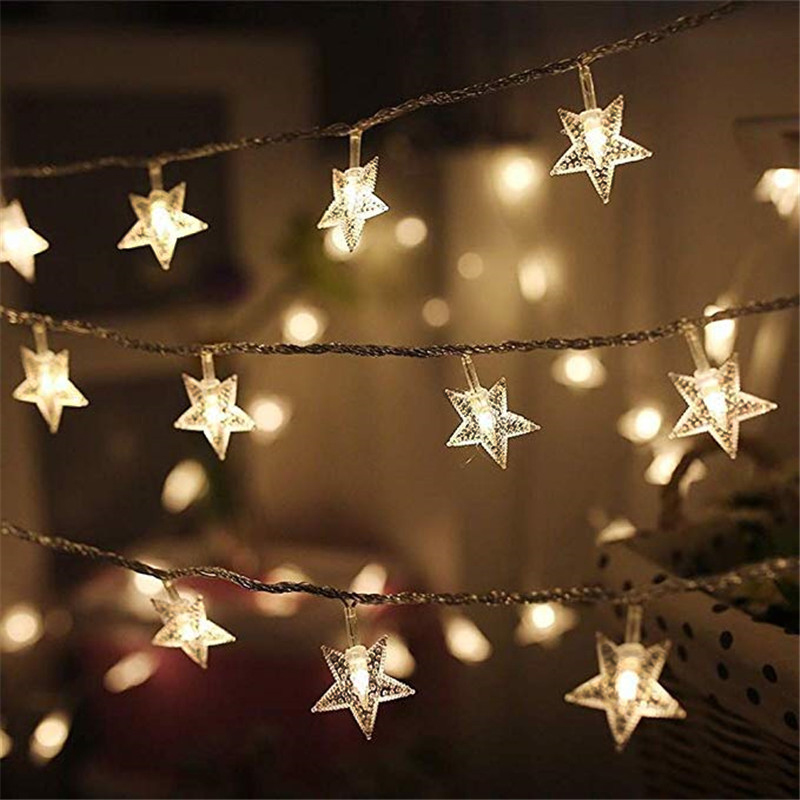 LED Star Night Light String Garland Curtain Home Decoration Bedroom Wedding Party Fairy Holiday String Lights Powered By USB