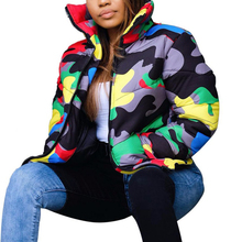 S-4XL Plus Size Camouflage Print Winter Wear Bubble Coat Female Cropped Puffer Down Jacket Plus Size