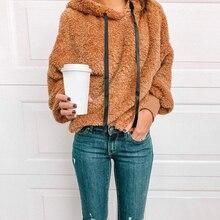 Women Fleece Hooded 2019 New Fashion Autumn Winter Plush Felt Hoodies  Warm Soft Long Sleeve Tops Sweatshirt D30