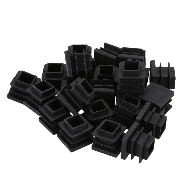 24 Pieces 16 * 16mm Plastic Striated Tube Plugs Insertion Black