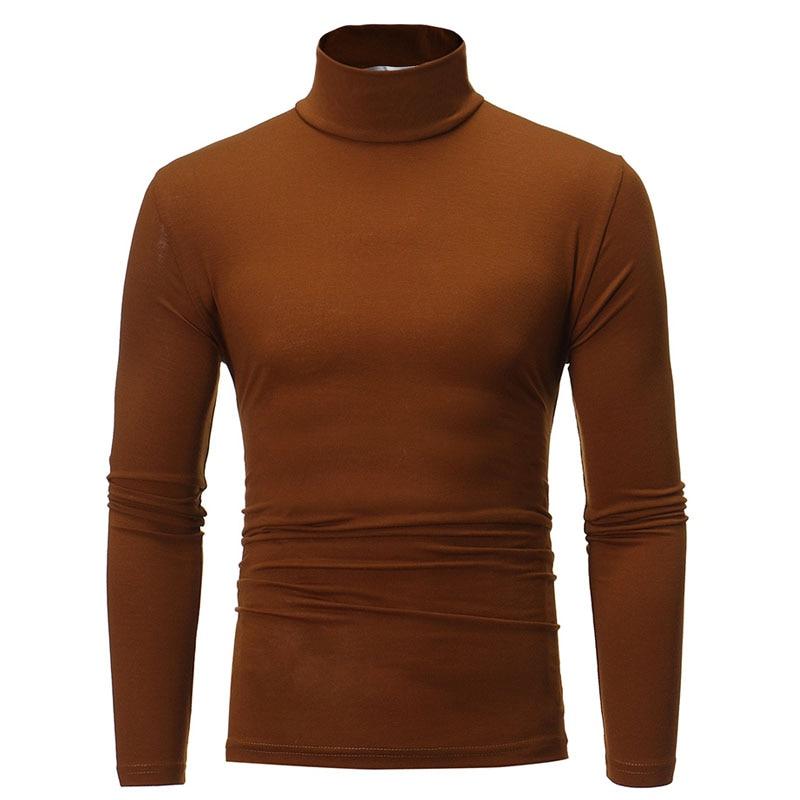 turtleneck for men Solid colour slim elastic thin pullover men Spring Autumn turtleneck men knitting brand sweater men 5
