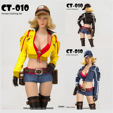 купить 1/6 Scale Female Motorcycle Clothing Set Jacket Clothes Yellow Black blue 3 colors 12
