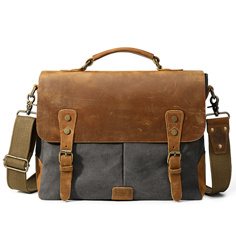 Luufan Mens Canvas Bag With Leave Cover Casual Business Shoulder Bag 15 Inch Laptop Crossbody Bag For Men Male Handbags