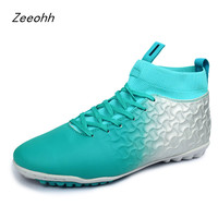 Large Size 38 46 Turf Indoor Soccer Sneakers Men High Quality Training Shoe Chuteira Superfly Original High Ankle Football Boots|Soccer Shoes| |  -
