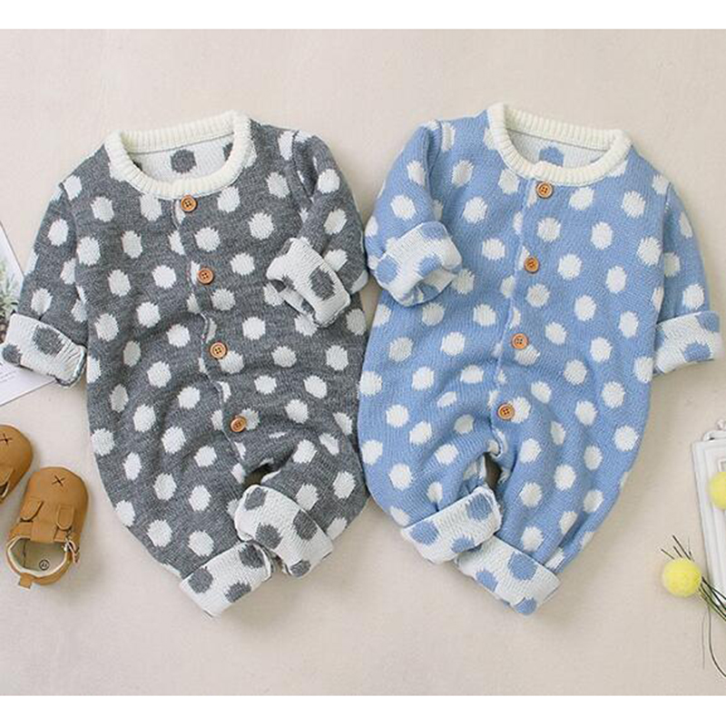 New Spring Korean Style Newborn Baby Cotton Knitted Clothes Infant Baby Girls Boys Dot Romper Toddler Long Sleeves Jumpsuit