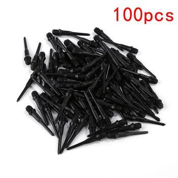 100 sztuk High Precision Electronic Dart trwałe miękkie tworzywo sztuczne profesjonalne rzutki czarne wskazówki punkty wymiana elektroniczna Dart tanie i dobre opinie CN (pochodzenie) 8 lat Steel Tips Darts plastic black dart tip 22mm + thread 5mm 4 5mm