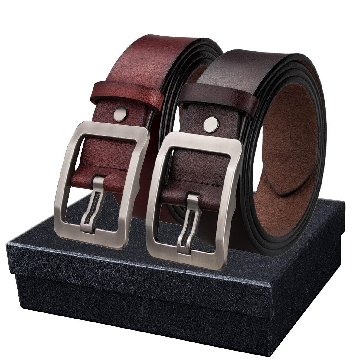 Anti-allergy Belt For Men Pin Buckle Belt Genuine Leather Belts Male Retro Waist Strap Puncher Gift Box Belt Jeans Barry.Wang