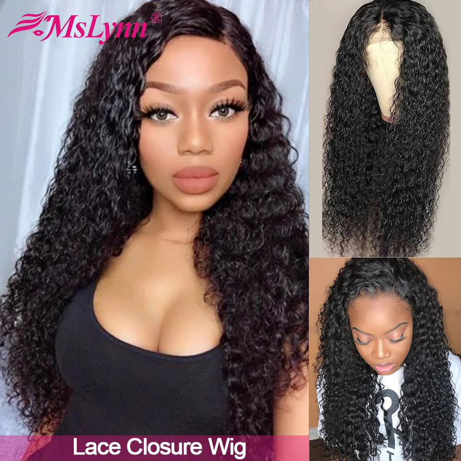 Lace Closure Wig Curly Human Hair Wigs Pre Plucked With Baby Hair Lace Wig For Black Women Mslynn Remy Wig 150% Density