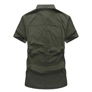 Image 4 - VINRUMIKAขนาดใหญ่M 5XL 2020ชายฤดูร้อนสบายๆแขนสั้นชายเสื้อผ้าฝ้าย100% สีกากีเสื้อArmyเสื้อผ้าสีเขียว