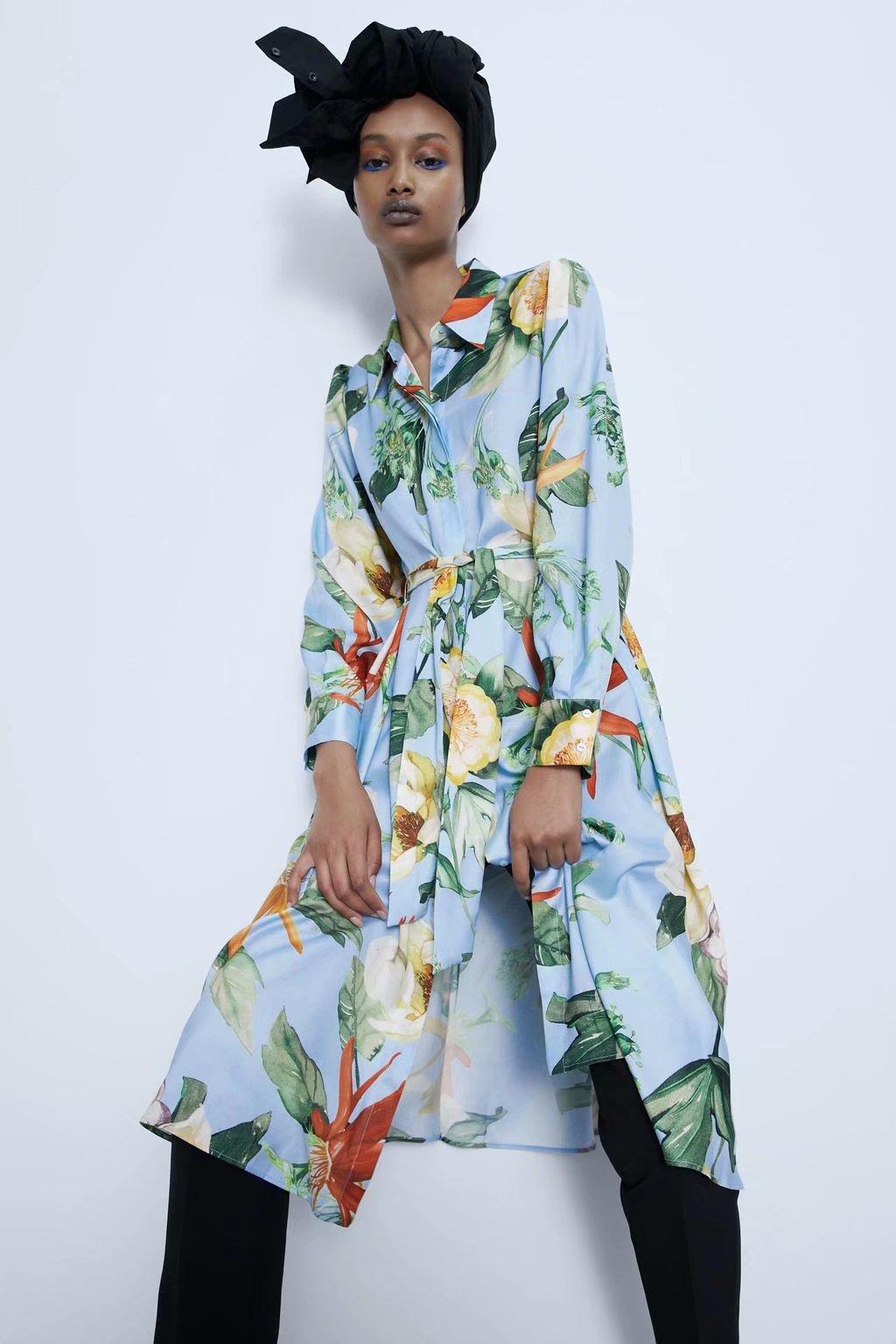 2020 New Spring Summer European Printed Zaraing Women Shirt Dress Vadiming Sheining Female Dress Streetwear XDN9418