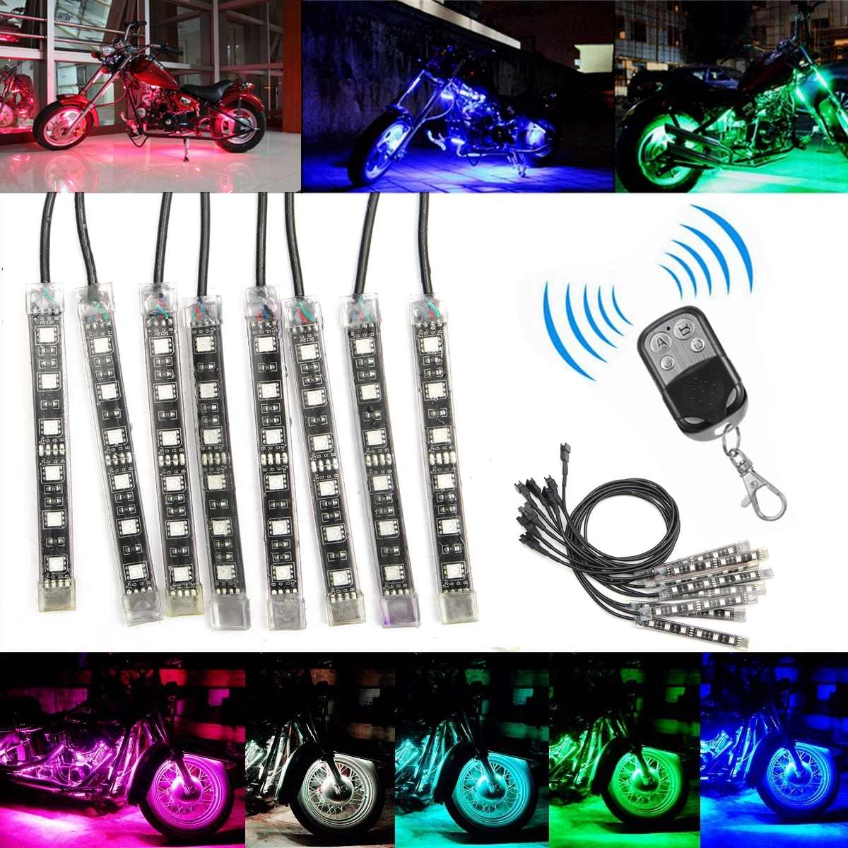 8/12pcs Motorcycle Decoration RGB Flashing Light Flexible 5050 LED Strips 15 Colors Glow Neon Wireless Remote Control Universal