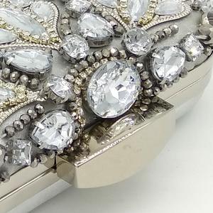 Image 4 - Boutique De FGG Vintage Silver Beaded Women Evening Bags Formal Wedding Dinner Party Beading Handbags Purses Bridal Clutch Bag