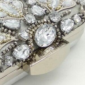Image 4 - Butik De FGG Vintage gümüş boncuklu kadınlar akşam çanta resmi düğün yemeği parti boncuk çanta çantalar gelin el çantası