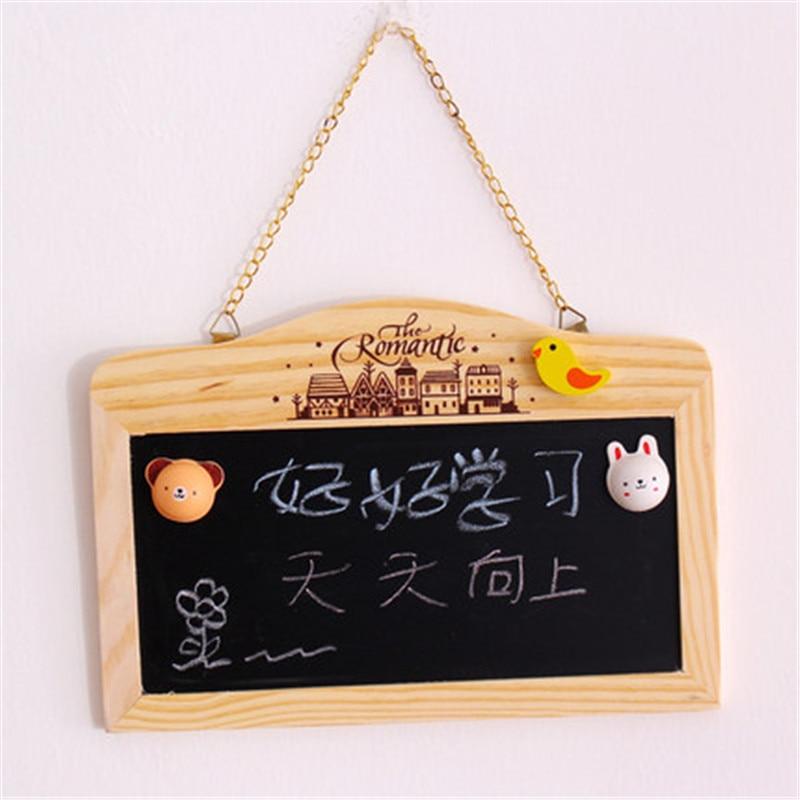 Wooden Blackboard Magnetic Chalkboard Wall Hanging Decor Message Board Shop Signboard House Number Double-sided Small Whiteboard