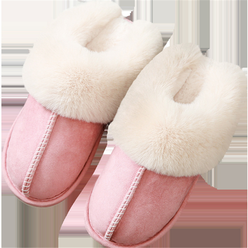 JIANBUDAN Plush warm Home flat slippers Lightweight soft comfortable winter slippers Women's cotton shoes Indoor plush slippers 2