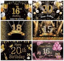 Fondo fotográfico con purpurina brillante para fiesta de cumpleaños, telón de fondo con diseño de fiesta de cumpleaños de 15, 16, 18, 20 y 21 pulgadas