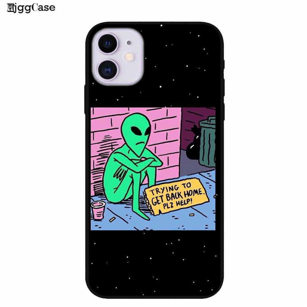 Ästhetik Nette Cartoon alien raum Weichen Silikon Telefon Fall Abdeckung Shell Für iPhone 5 6 6s 7 8 Plus X XR XS MAX 11 pro max fällen