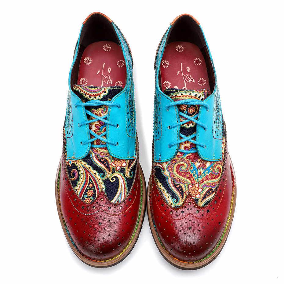 Vintage Oxford Schoenen Voor Vrouwen Echt Lederen Platte Hak Schoenen Vrouw Britse Lace Up Brogues Flats Schoenen Retro Chaussures Femme