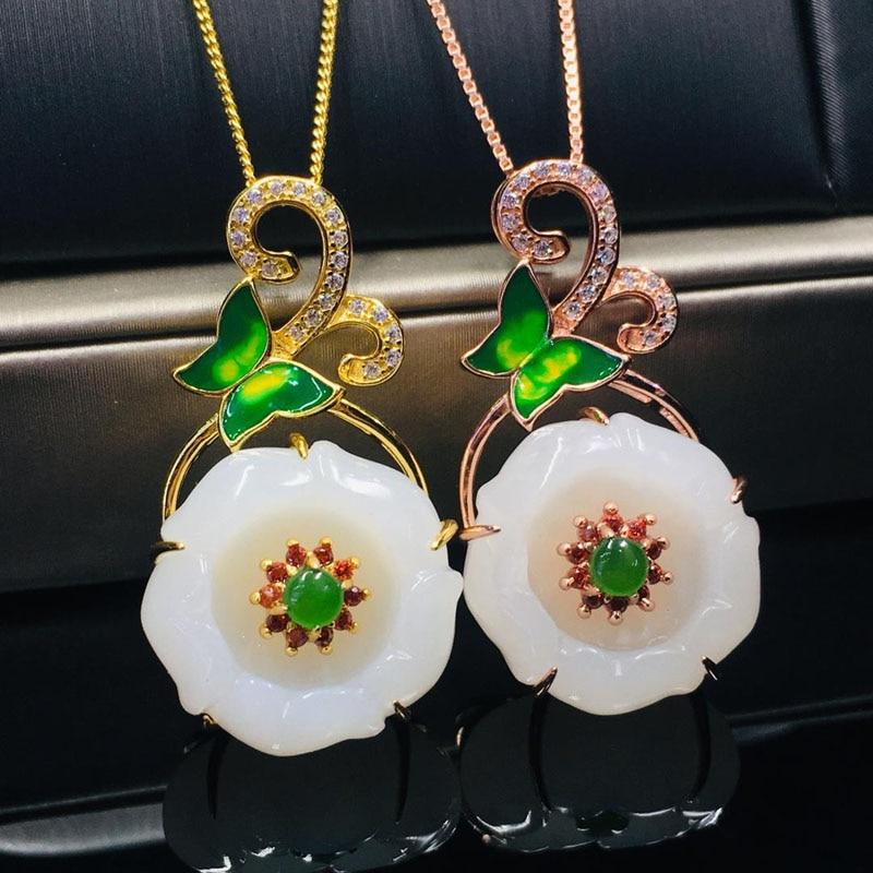 Boutique bijoux S925 argent Hetian Jade pendentif mode papillon blanc Jade collier, conçu pour les femmes à créer des cadeaux