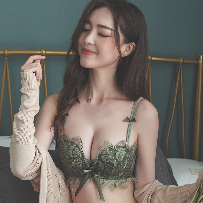 BEFORW Lace Floral Embroidery Bra Backless Wireless Bralette Sexy Lingerie Comfortable Adjustable Push Up Bras For Women