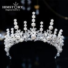 лучшая цена Himstory Silver European Vintage Princess Bridal Tiaras Crowns Rhinestone Pageant Bride Hair Accessories Pearl Wedding Diadem