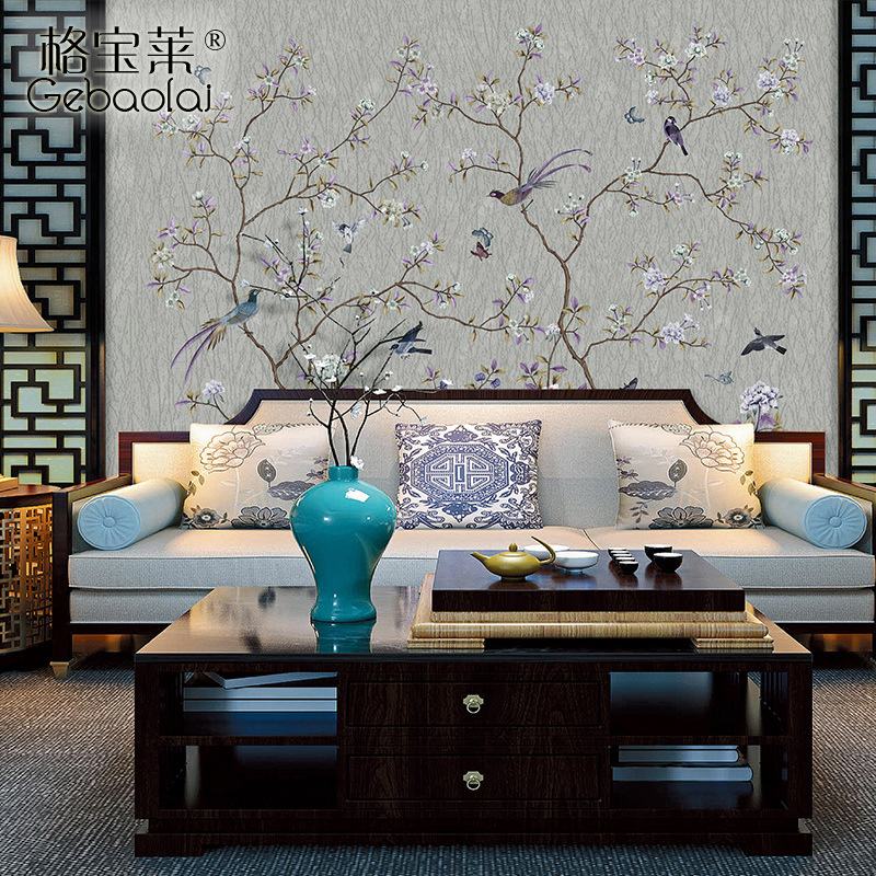 New Chinese Style TV Backdrop Seamless Silk Wall Cloth Wall Covering Fabric Living Room Bedroom Home Improvement Living Room Non