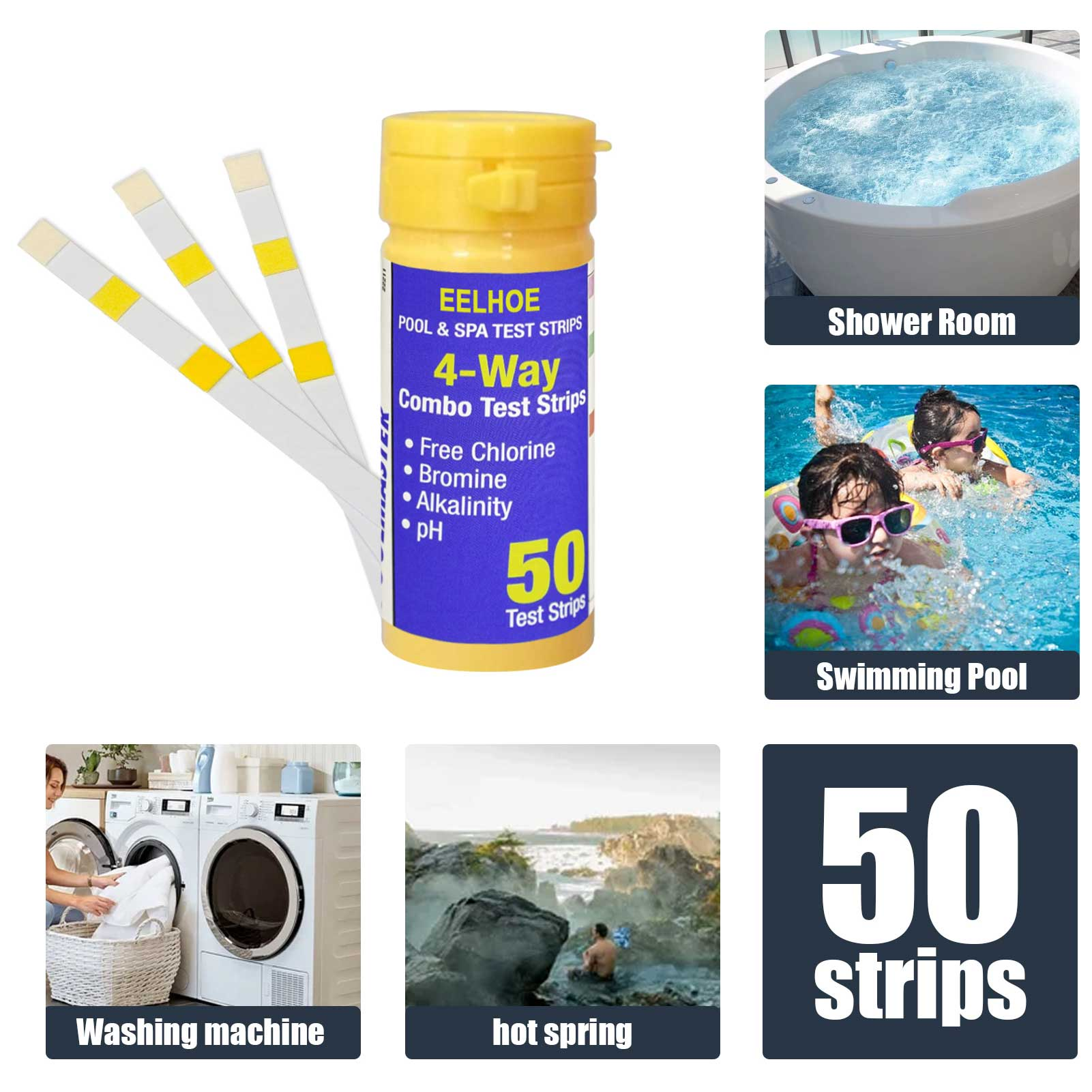 50PC Swimming pool pH Test paper 3 in 1 Test Strip Chemical Accurate Swimming Pool Accessories Water quality Evaluation