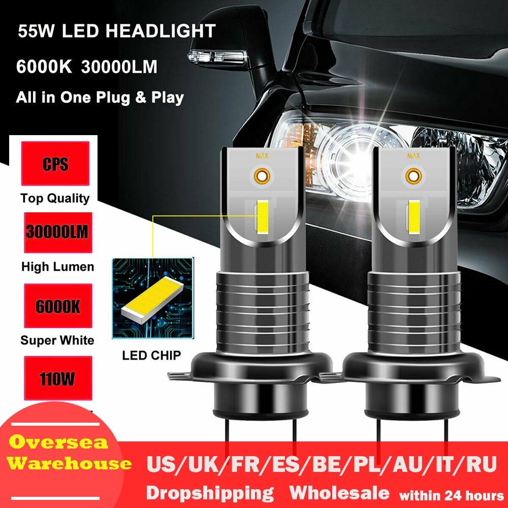 2PCS LED H7 Headlight Bulb CSP Chip LED Canbus Car Light 10000LM/Bulb 50W H9 H11 Mini HB3 HB4 Cutting Line 12V 24V Car Styling
