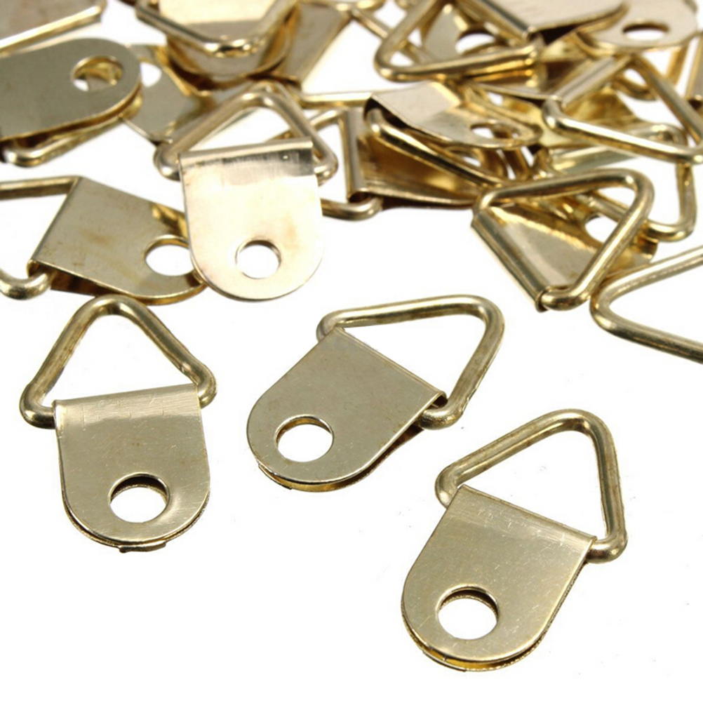 20 Pcs/lot Photo Frame Hook With Ring Golden Brass D-Ring Picture Oil Painting Mirror Frame Wall Mount Hooks Hangers With Screws