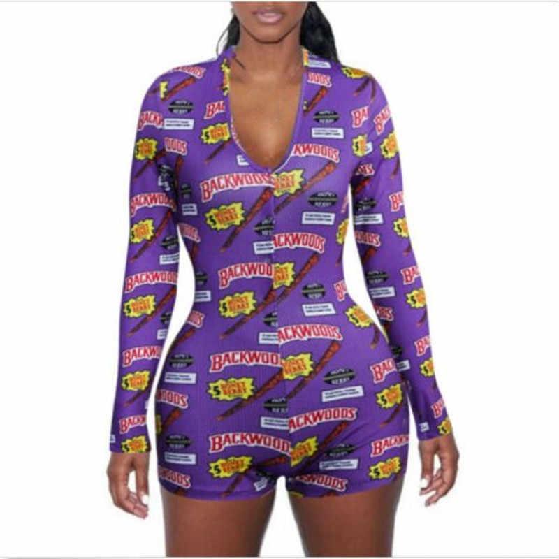 Seksi kadınlar v yaka hayvan baskı Bodycon pijama tulum düğmesi Bodysuit şort Leotard uzun kollu Bodysuit parti streetwear