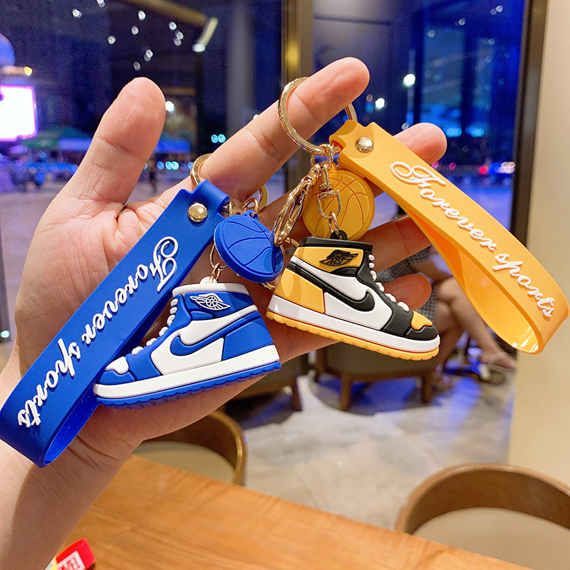 Creative Cartoon Men's and Women's Basketball Shoes Keychain PVC Soft Rubber Car Key Ring Chain Bag Small Pendant Accessories