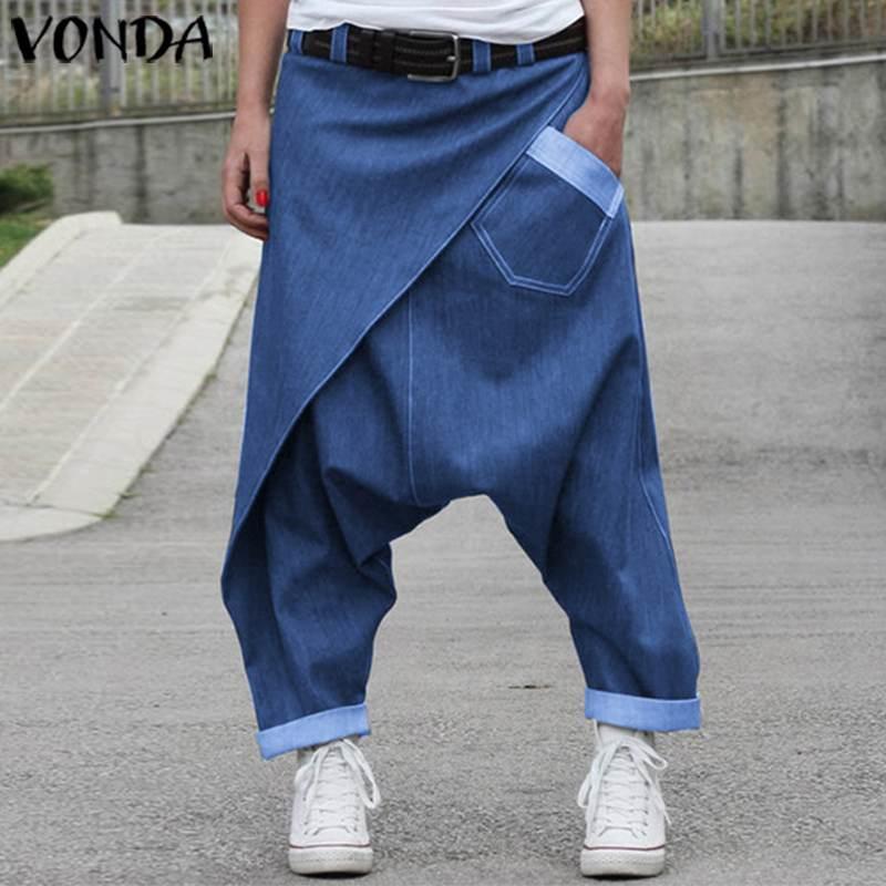 VONDA Women Denim Pants 2020 Female Casual Harem Wide Leg Pants Women's Trousers Plus Size Beach Streetwear Bottoms S-5XL