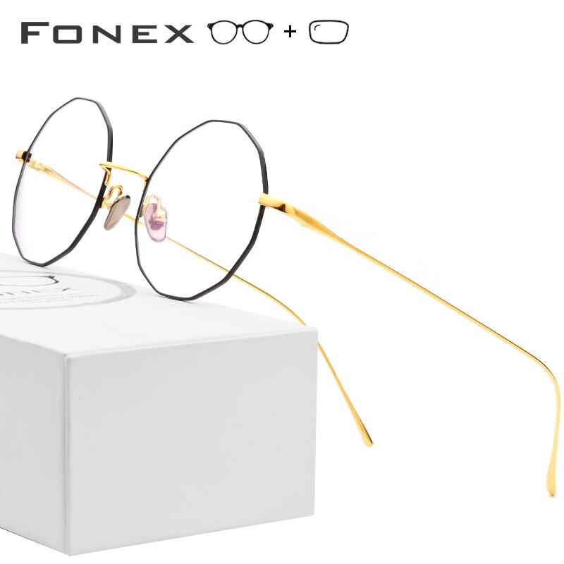 Pure Titanium Prescription Glasses Women 2019 Vintage Polygon Ultralight Eyeglasses Men Full Myopia Optical Frame Korean