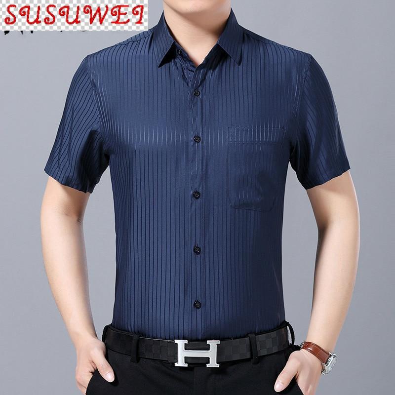SUSUWEI Man's Shirt Summer 100% Mulberry Silk Shirt Men casual white shirts for men striped short sleeve shirt 2021 4800 KJ4557