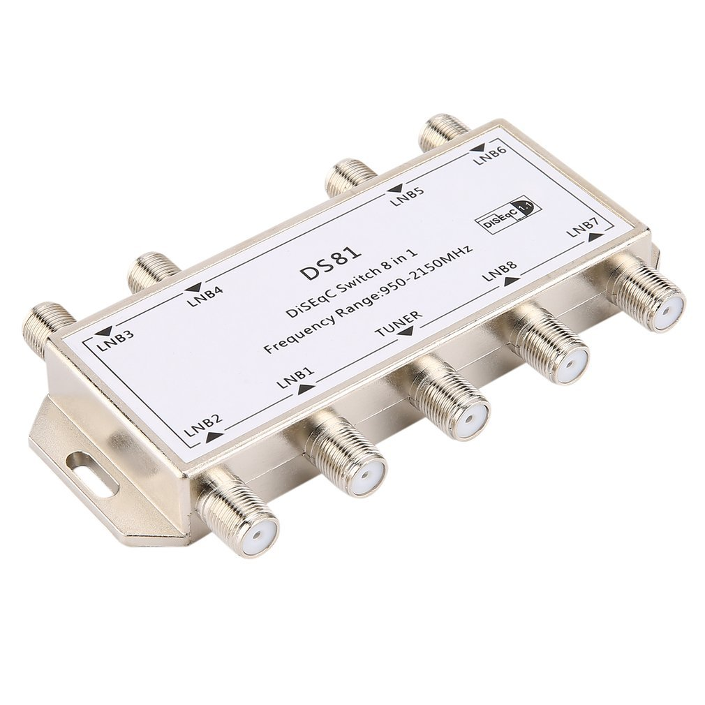 AdaAda DS81 8 in 1 Satellite Signal DiSEqC Switch LNB Receiver Multiswitch Silver