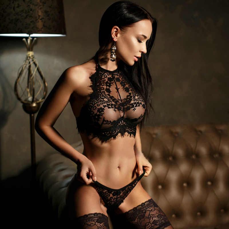 Nuevo conjunto de sujetadores transparentes con bordado de encaje Intimo Sexy Lencería erótica de talla grande conjunto de ropa interior y bragas finas
