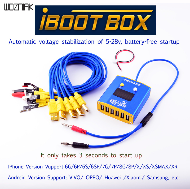 Механик iBoot Box силовой Тестовый Кабель источник питания батареи для iPhone XR XSMAX XS X 8P 8G 7P 6P One touch power on принимает только