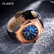 PLADEN-relojes deportivos para hombre, de cuarzo, de negocios, resistente al agua, de cuero, 2020