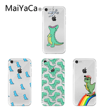MaiYaCa Cute Cartoon Dinosaur Cases For iPhone XS Max XR X 6 6S 7 8 Plus Soft TPU Transparent Phone Back Cover Coque Gift