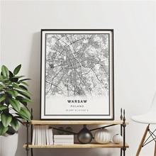 Polónia varsóvia mapa da cidade quadros de lona cartazes e cópias da arte da parede fotos para pólos sala estar decoração para casa