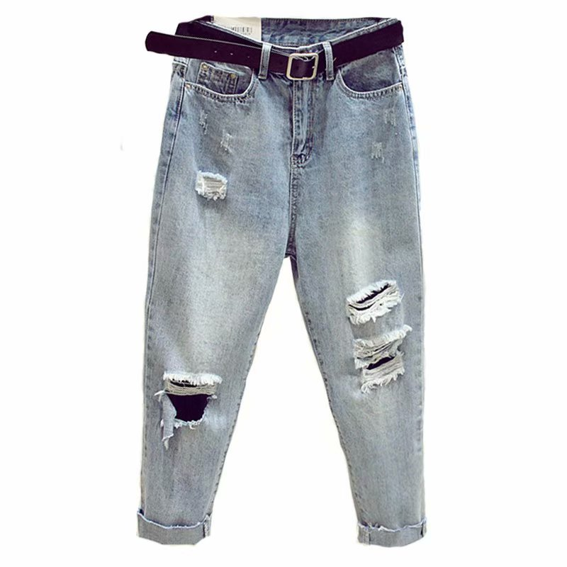 Jeans Woman Autumn Plus Size Harem Hole Ripped Jeans Lady High Elastic Waist Loose Frayed Denim Pants