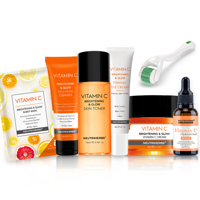 Neutriherbs Vitamin C Face Care Set with VC Cleanser + Derma Roller +Toner+ Serum + Mask + Day Cream +Eye Cream 7 in 1 1